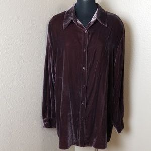 Soft Surroundings Brown Velour Button Down Blouse